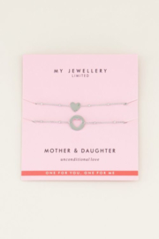 My Jewellery | moeder dochter armband hartje zilver