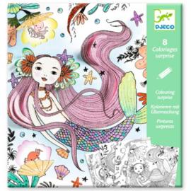 Djeco knutselen | kleurplaat met verassingen zeemeermin