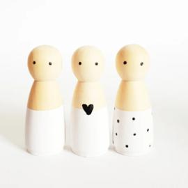 SPJ | houten poppetje vrouw/meisje wit