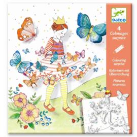 Djeco knutselen | kleurplaat met verassingen vlindermeisje
