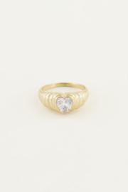 My Jewellery | ring zirkonia hartje goud