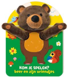 Kom je spelen, beer en zijn vriendjes | karton met handpop