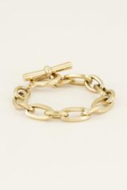 My Jewellery | schakelarmband  kapittelslot goud