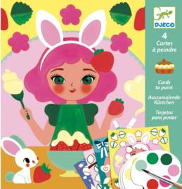 Djeco knutselen | kaarten beschilderen meisjes