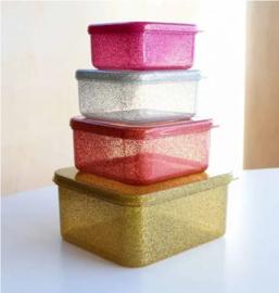 Little Lovely Company lunch & snackbox set | glitter gold blush