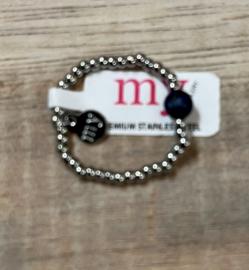 My Jewellery | Stretch ring zilver steentje blauw
