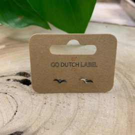 Go Dutch Label   oorknopjes groot vogeltjes zilver