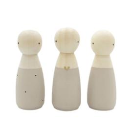 SPJ | houten poppetje vrouw/meisje taupe