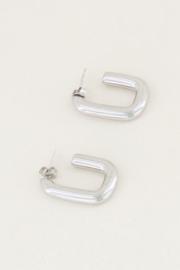 My Jewellery | oorsteker hoekige ovaal zilver