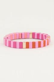 My Jewellery | armband met roze platte kralen