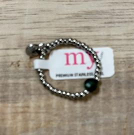 My Jewellery | Stretch ring zilver steentje groen
