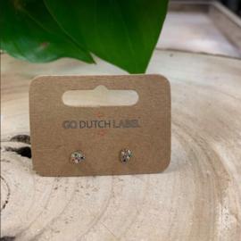 Go Dutch Label   oorbellen druppel gekleurde steentjes goud