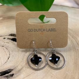 Go Dutch Label   oorbellen zwart/zilver