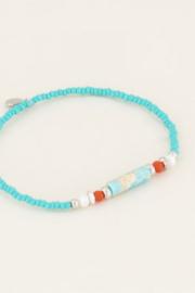 My Jewellery   armbandje met blauwe kralen zilver