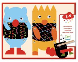 Djeco knutselen | kraskaarten voor peuters kleine monsters