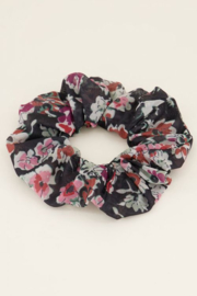 My Jewellery | scrunchie bloem zwarte mesh