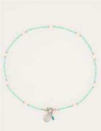 My Jewellery | Groene kralen ketting met slotje & bedels