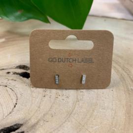 Go Dutch Label   oorknopjes  kleine staafjes met steentjes zilver