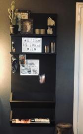 Wandbord met planken, prikbord en opbergvakken