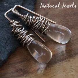 Zilveren oorbellen Bergkristal cocon op pin