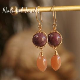 Gouden oorbellen Maansteen en Sugiliet