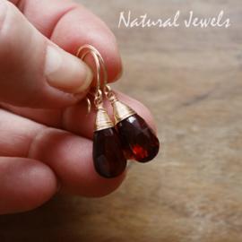 Rode Edelsteen gouden oorbellen