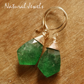 Gouden oorbellen Green Strawberry Quartz