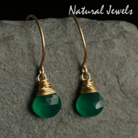 Goldfilled oorbelletjes Green Onyx