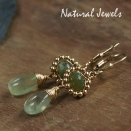 Goldfilled oorbellen Adorned Green
