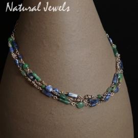 Zilveren halsketting Blauwe en Groene edelstenen