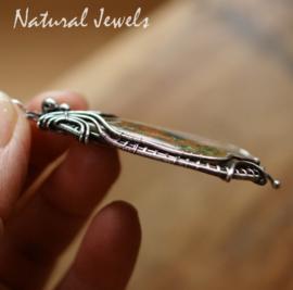 Groene edelsteen hanger van zilver