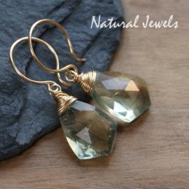 Gouden oorbellen groene Ametist