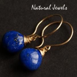14K Goldfilled oorbellen Lapis Lazuli glad