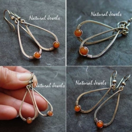 Hammered Drops with Carnelian