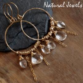 Gouden oorbellen Bergkristal cirkel