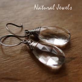 Bergkristal oorbellen zilver