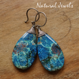 Blauwe edelsteen oorbellen