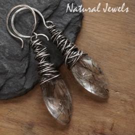 Zilveren oorbellen Rutielkwarts