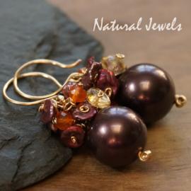 Gouden edelsteen oorbellen Purple Violets