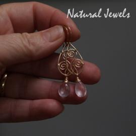 Gouden Rozenkwarts oorbellen