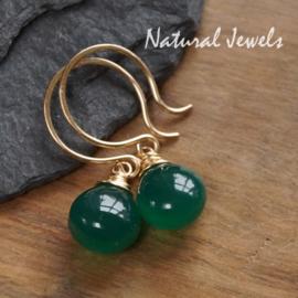 Gouden oorbellen Groene Onyx - glad