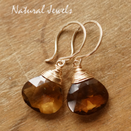 Whiskey Quartz oorbellen