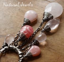 Zilveren edelsteenhanger robuust Roze