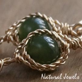 Gouden oorbellen Jade en Labradoriet