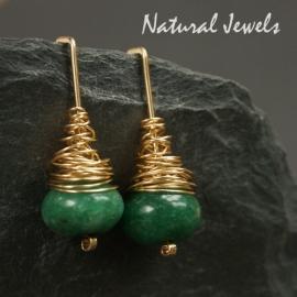 gouden pin-oorbellen Jade cocon