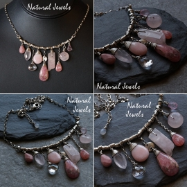Zilveren handgemaakte halsketting Pink