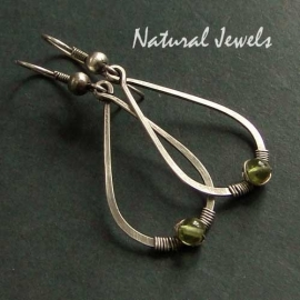 Hammered Drops with Peridot