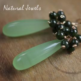 Groene Chalcedoon cluster gouden oorbellen