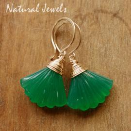 Groene onyx oorbellen  goud