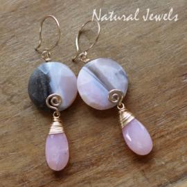 Roze Boulder Opaal oorbellen